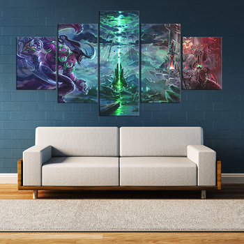 5 Piece HD Picture WOW Hero Illidan Stormrage Pictures Wall Sticker World of Warcraft Video Game Poster Paintings for Wall Decor image
