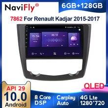 6G + 128G QLED 4G CarPlay Android 10 Radio del coche para 2016 de 2017 Renault Kadjar GPS Multimedia reproductor de pantalla táctil HD unidad ESTÉREO