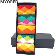 MYORED 5 paare/los herren Socken gekämmte baumwolle jacquard helle farbe diamant herren business socken casual kleid hochzeit geschenk KEINE BOX