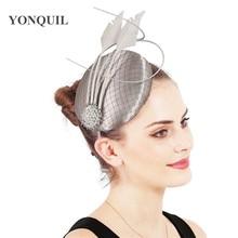 Vintage Fascinator Occasion Hair Accessories Satin Millinery Hat Gorgeous Wedding Headwear Women Party Ladies Feather Headpiece