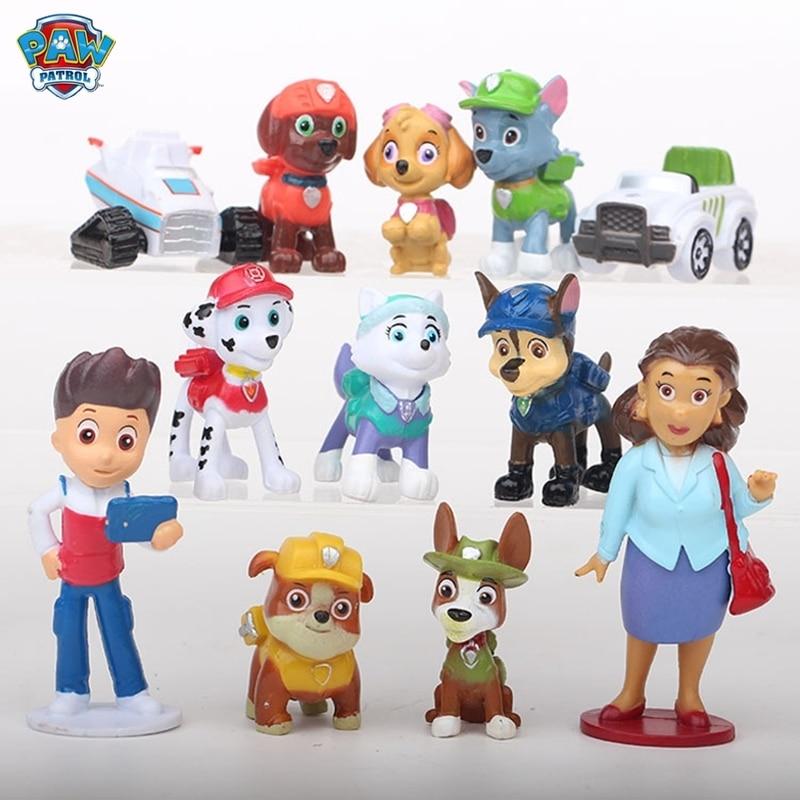 12 pçs pata patrulha brinquedo mini cão modle patrulha filhote de cachorro capitão figura de ação modelo de ano novo presente do menino brinquedos