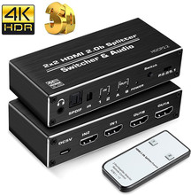 Navceker 4K @ 60Hz HDMI Switcher 4K HDMI Splitter 2x2 HDR HDMI Interruttore 2.0 con 3.5 millimetri Martinetti e Ottico Toslink Per PS4 Apple Tv Xbox