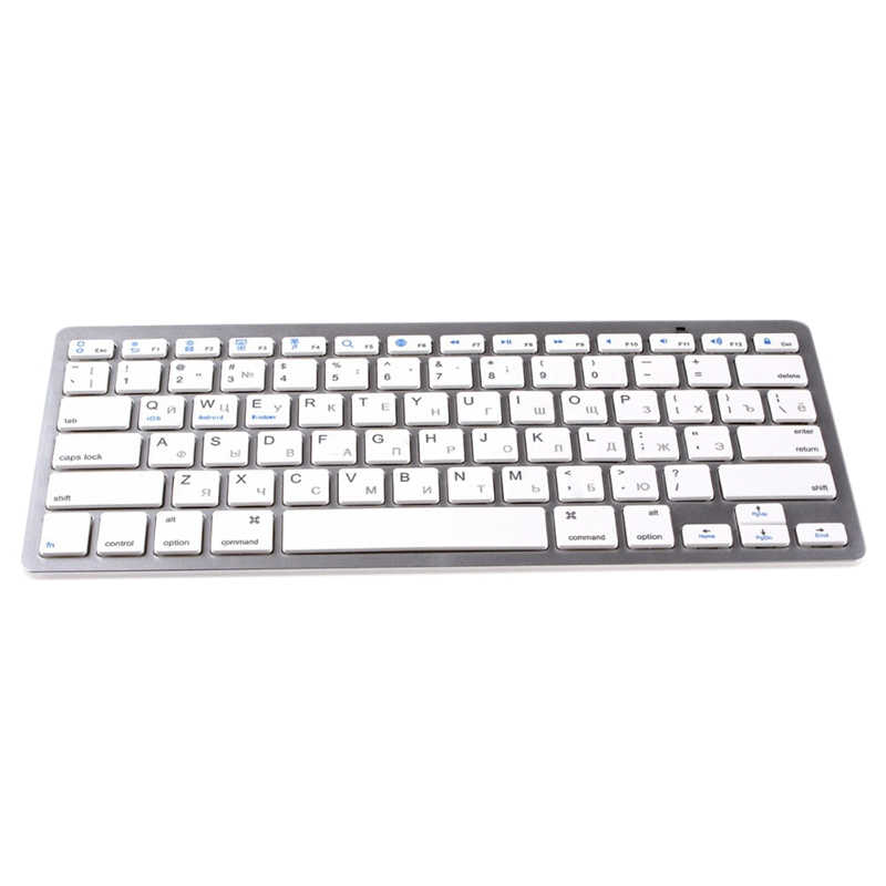 Russian Keyboard Ultra-Thin Bluetooth 3.0 Wireless For Computer Office Without Battery Plastic