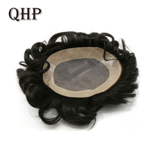 Mens Toupee Hairpiece Wig Pu-Hair-Replacement-Systems Mono Indian-Remy Natural-Handmadec