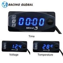 ALCON-Racing Water Meter Gauge Universal Multi-Function Mini 3 Digital Air Temperature Thermometer Time Voltmeter 3-in-1