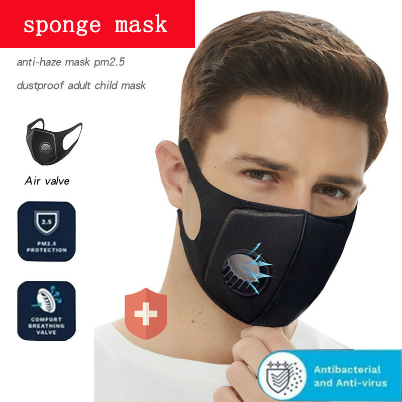Unisex Anti-Dust Mouth Mask Filter Anti PM2.5 Air Pollution Mouth Face Sponge Mask Washed Reusable Breathable Valve Mask