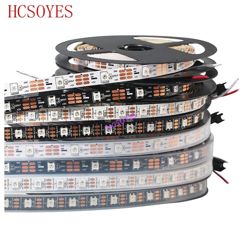 Светодиодная лента WS2812B, 5 м/лот, 5 в постоянного тока, 30/60 светодиодов/м, ws2811ic, встроенная индивидуально Адресуемая Светодиодная лента RGB