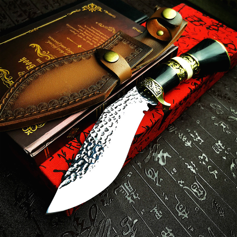 with PEGASI knife tool tactical Nepali knife handle forged  outdoor brass for outdoor hunting sharp dogleg Vacuum wooden color