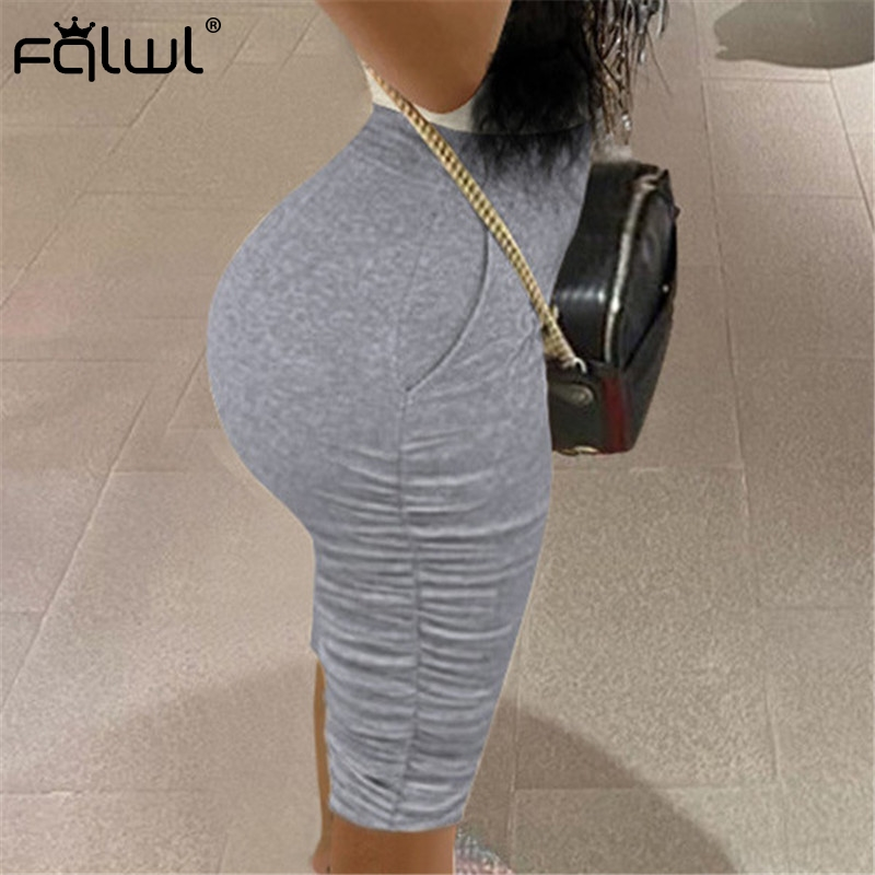 FQLWL Casual Pleated Short Pants Women Cotton Sweat High Waist Grey Biker Shorts Women Black Pink Summer Sexy Shorts Female 2020