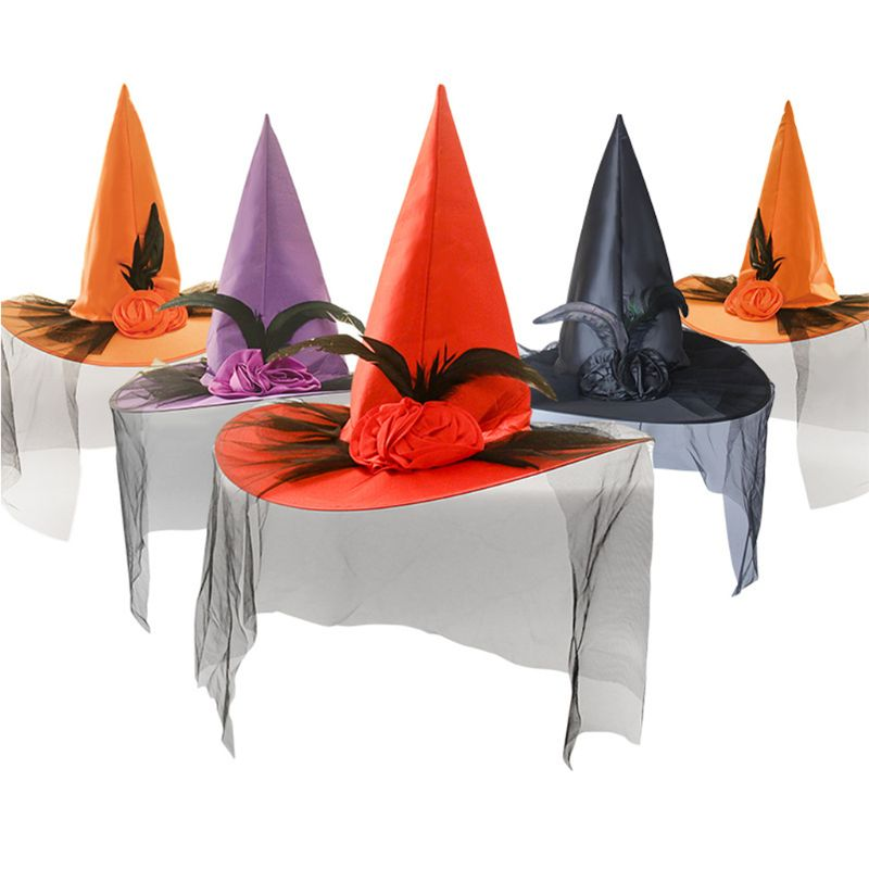 1PC Women Girls Halloween Witch Hat With Artificial Rose Flower Feather Mesh Veil Cap Stage Show Cosplay Costume Party Decor