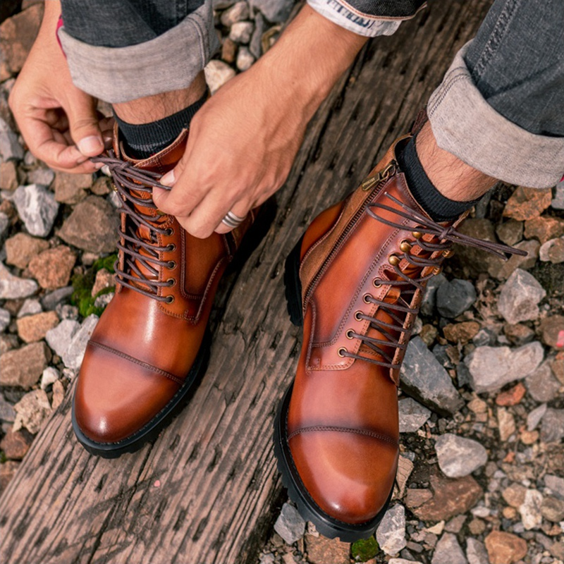 High Quality Man Handmade Laces Cap Toe Military Shoes Genuine Leather Round Toe Heels Men's Desert Riding Ankle Boots NHS277 - 6