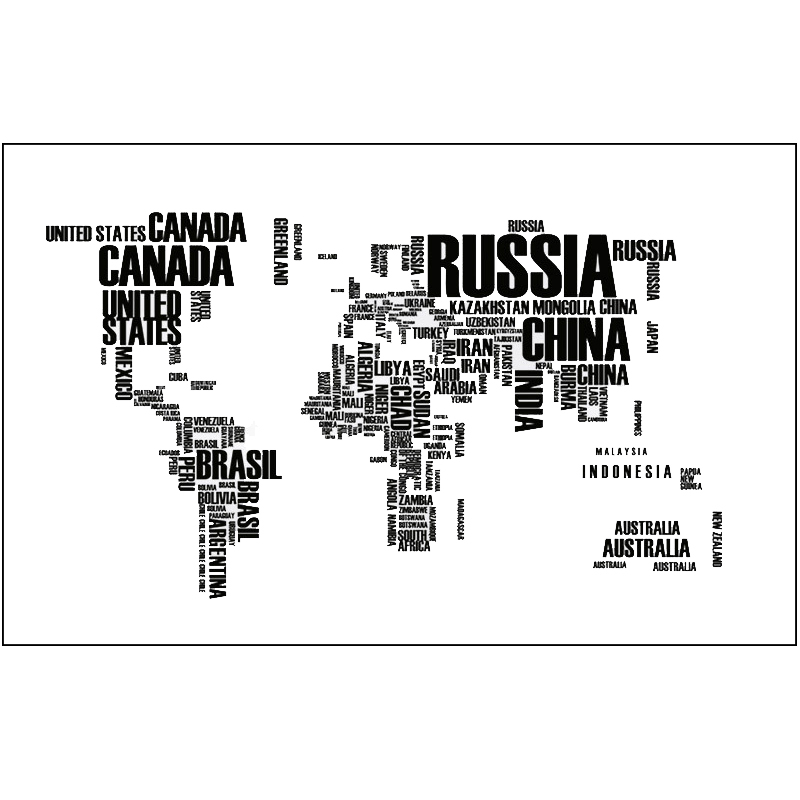 Black World Travel Map Removable Letters Wall Stickers PVC Decal Mural Living Room Home Decoration Creative Art DIY Wall Sticker