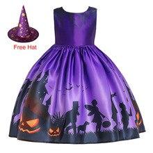Girl Halloween Vampire Pumpkin Witch Cosplay Princess Cartoon Print Christmas Kids Clothings Dress