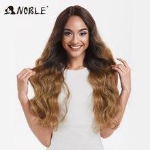 Nobre longo ondulado perucas para preto feminino sintético loira cosplay perucas 30 Polegada resistente ao calor peruca sintética afro-americana