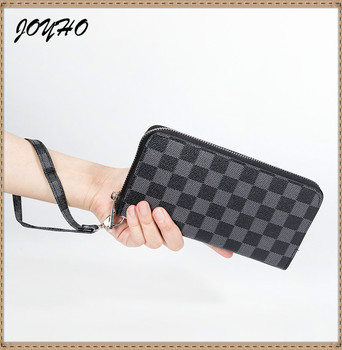 Plaid Men's Wallet of PU Leather Clutch Wallet and Female Coin Purse Large Capacity Mobile Phone Bag Women Strap Money Bag