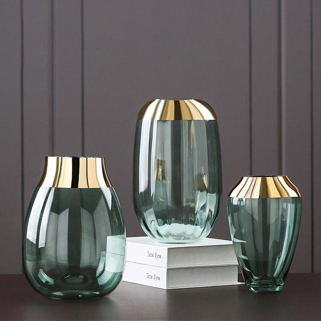 Fashion Gold Foil Flower Vase Figurines Living Room Decor Accessories Glass Flower Vase Ornaments Home Decoration Furnishing