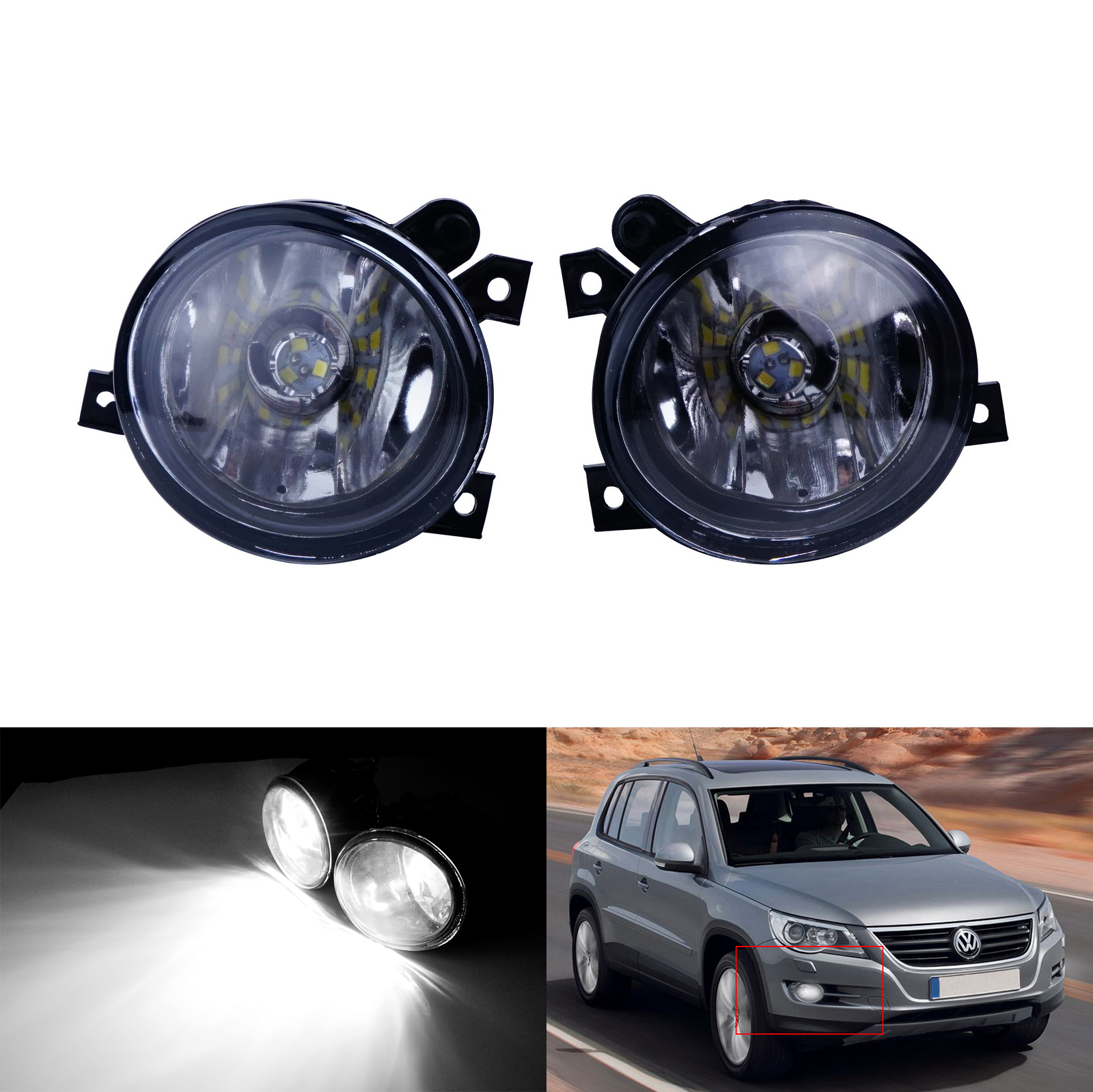 ANGRONG Front Fog <font><b>Light</b></font> 30W <font><b>LED</b></font> Bulb N/S & O/S For <font><b>VW</b></font> <font><b>Golf</b></font> <font><b>MK5</b></font> Caddy Scirocco Tiguan image