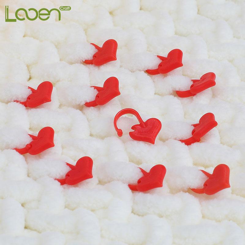 Looen 50pcs/lot Heart Shaped Stitch Holders DIY Needle Arts Craft Plastic Knitting Crochet Locking Stitch Markers Sewing Tools
