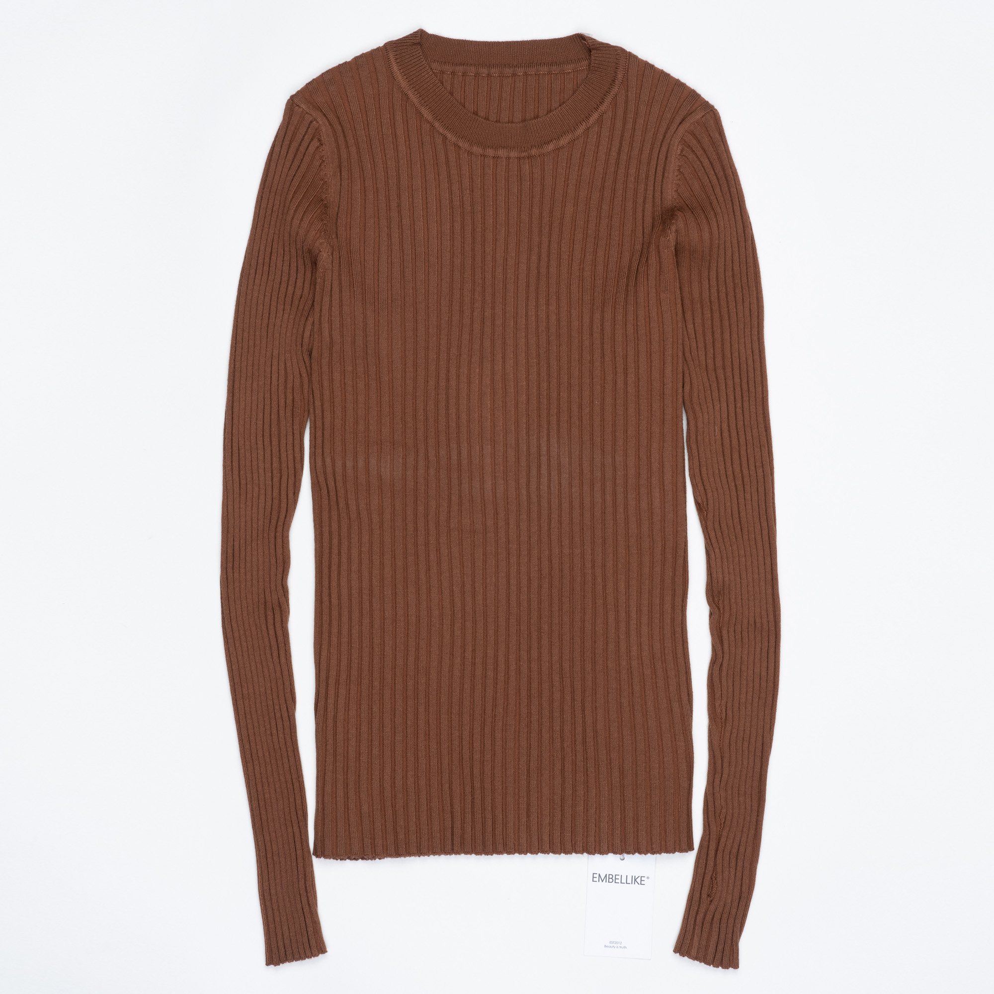 Women Sweater Pullover Basic Ribbed Sweaters Cotton Tops Knitted Solid Crew Neck With Thumb Hole 23