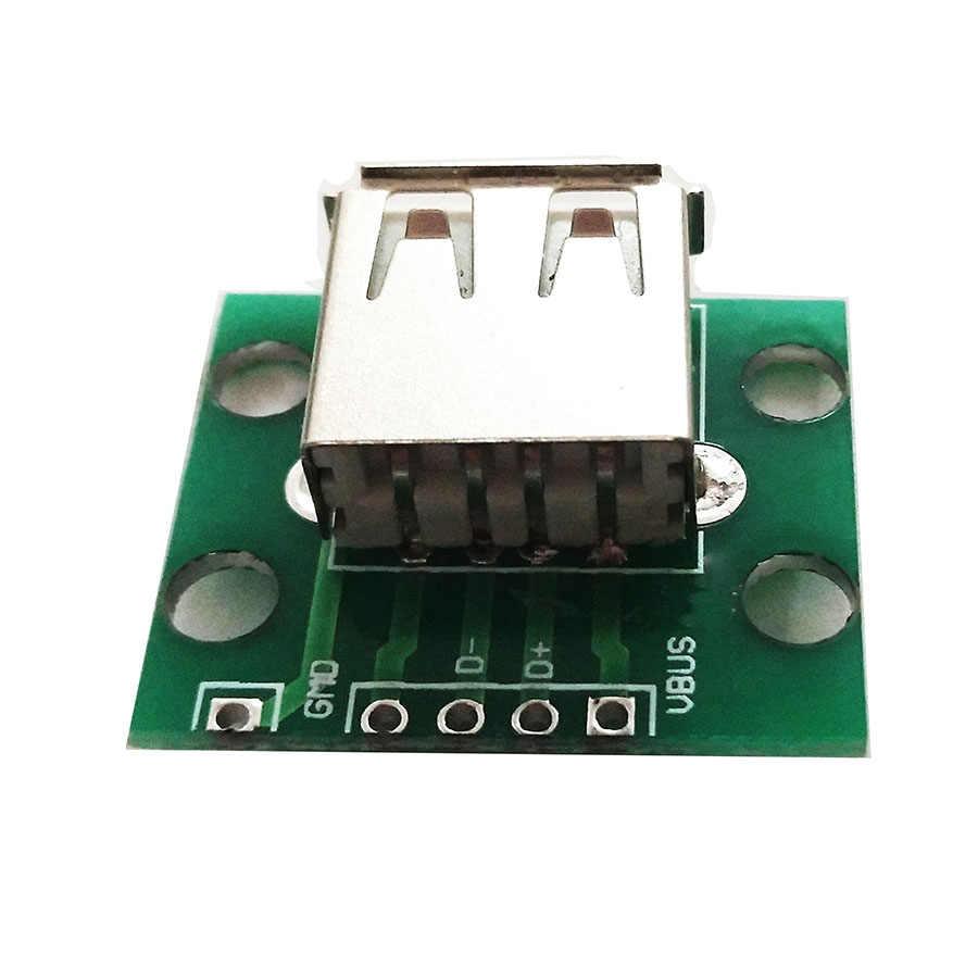 2Pcs USB 2.0 Female Head Socket To DIP 2.54mm Pin 4P Adapter Board