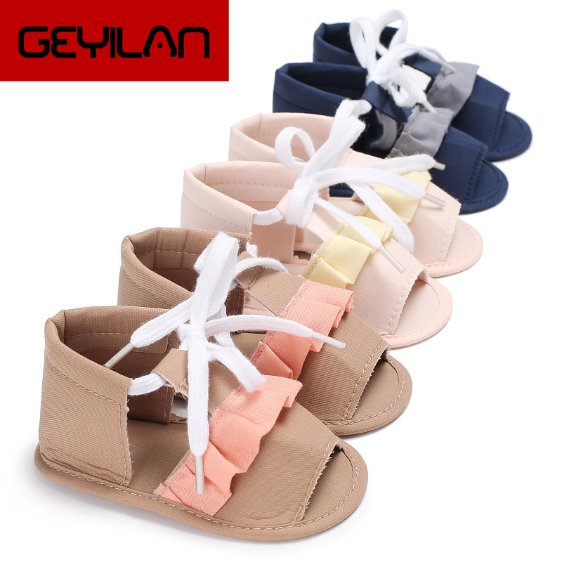 Baby Girl Summer Canvas Lace Sandal Simple Patchwork Color Flat Heel Princess Shoes 3 Colors Style Toddler Girls Casual Sandals
