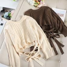 Autumn Fashion Short Sweater Women V-neck Bandage Knitting Hemp Flowers