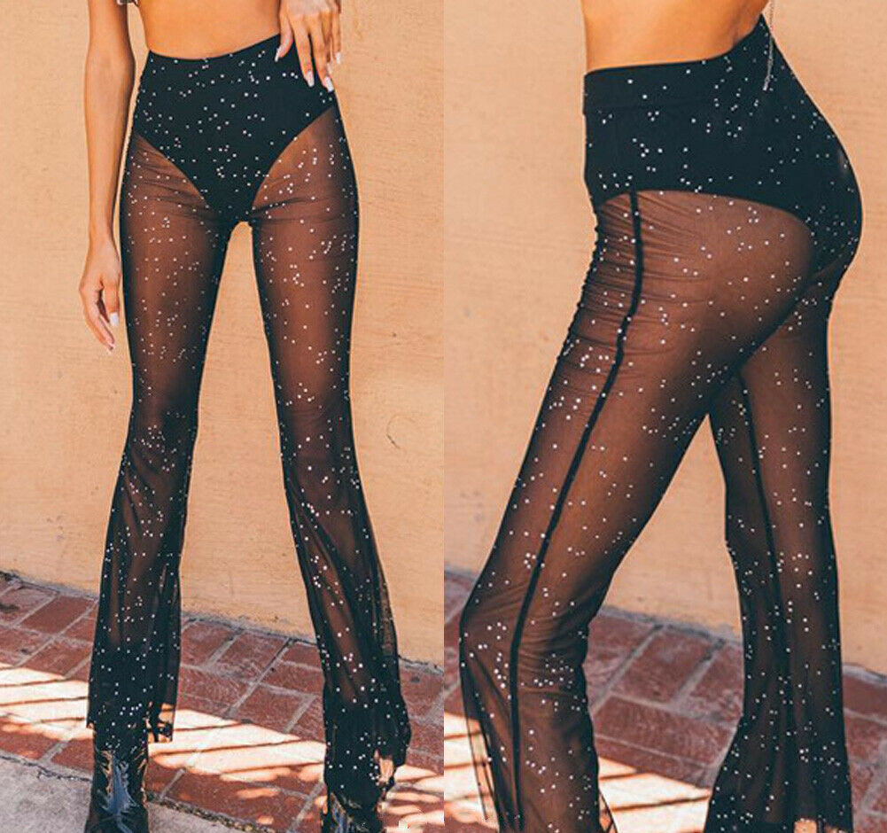 Women Mesh Sheer See-through Crystal Shining High Waist Elastic Sheer Wide Leg Pant Beach Bikini Cover Up Flared Trousers