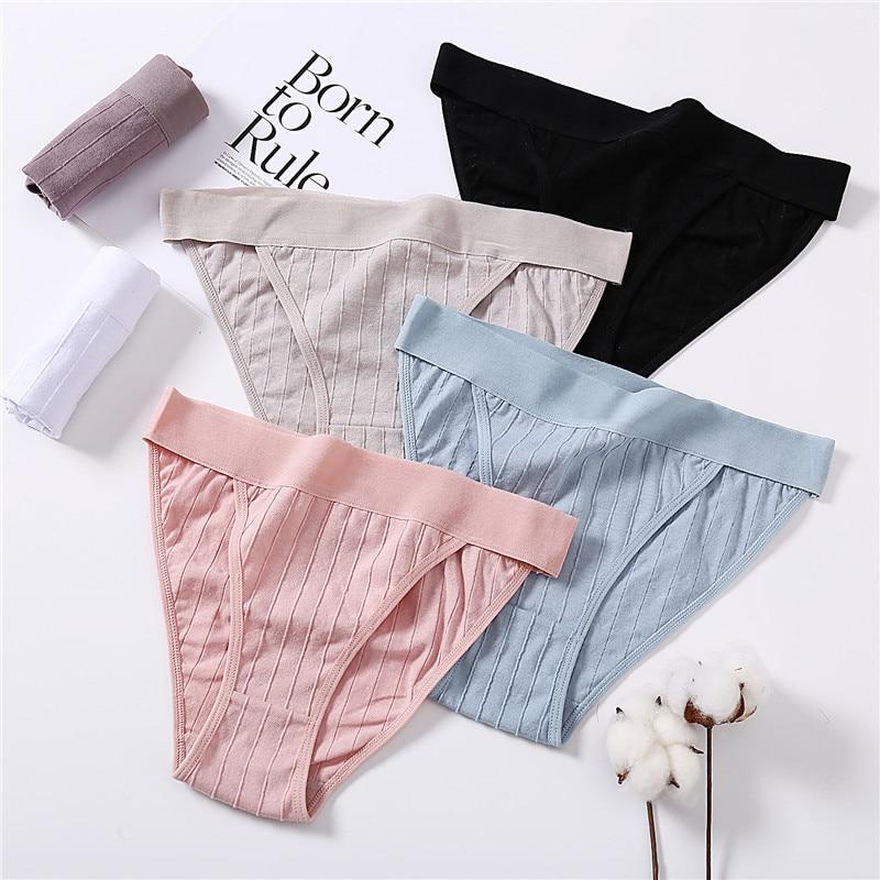 Женские хлопковые трусы удобные широкие с заниженной талией для женщин, комплект сексуального женского нижнего белья, M-XL мягкие полосатые ...