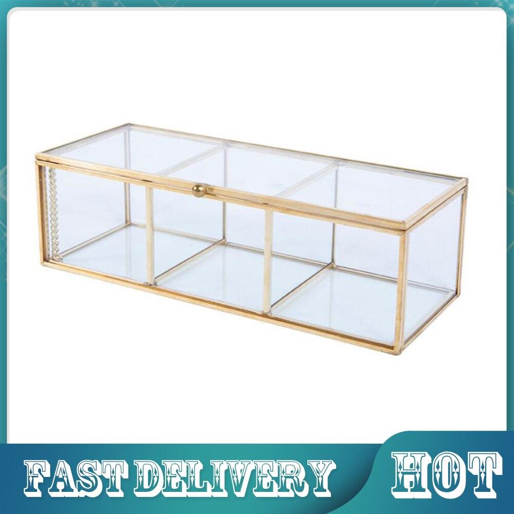 Косметический ящик для хранения косметики, органайзер для макияжа с крышкой, пыленепроницаемые инструменты, настольные стеклянные контейн...