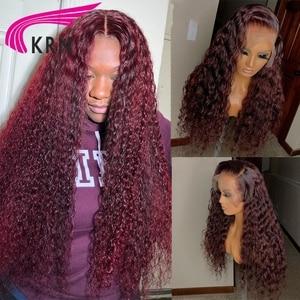Image 3 - Krn 99J Bordeaux Rode Korte Menselijk Haar Pruiken Pre Geplukt Krullend Blonde Lace Front Pruik 13X6 Kant Frontbrazilainremy Pruik 180 dichtheid