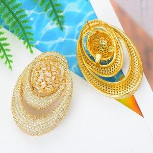 Image 5 - Godki novo luxo exclusivo círculo colar brinco conjuntos para o casamento feminino nupcial zircondubai cúbico high end conjunto de jóias 2019