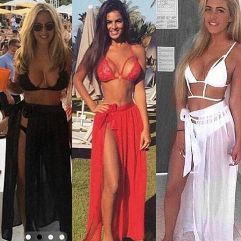 New Women Swimwear Bikini Cover Up Sheer Beach Mini Wrap Skirt Sarong Long Maxi Skirt Side Split Skirt Solid Transparent Pareo