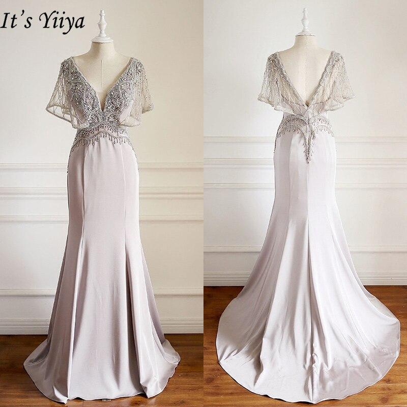 It's Yiiya Evening Dress 2019 V-neck Short Sleeve Trumpet Formal Dresses Crystal Tassel Floor Length Party Robe De Soiree  E927