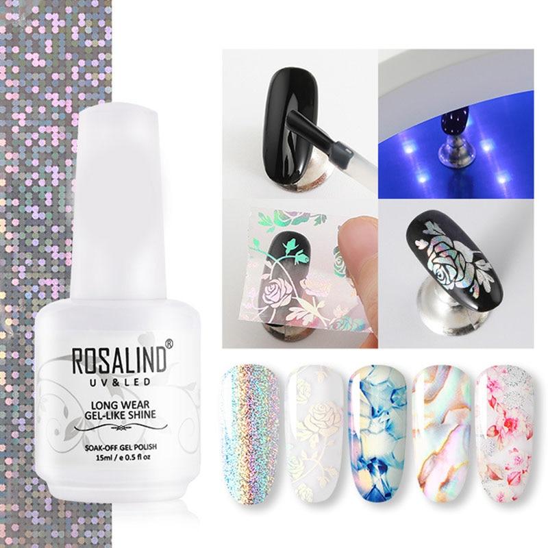 ROSALIND Nail Foil Starry Sky Sticker Transfer Gel Nail Art Stickers Tips Wraps Transfer Adhesive Glitters DIY Decoration Set