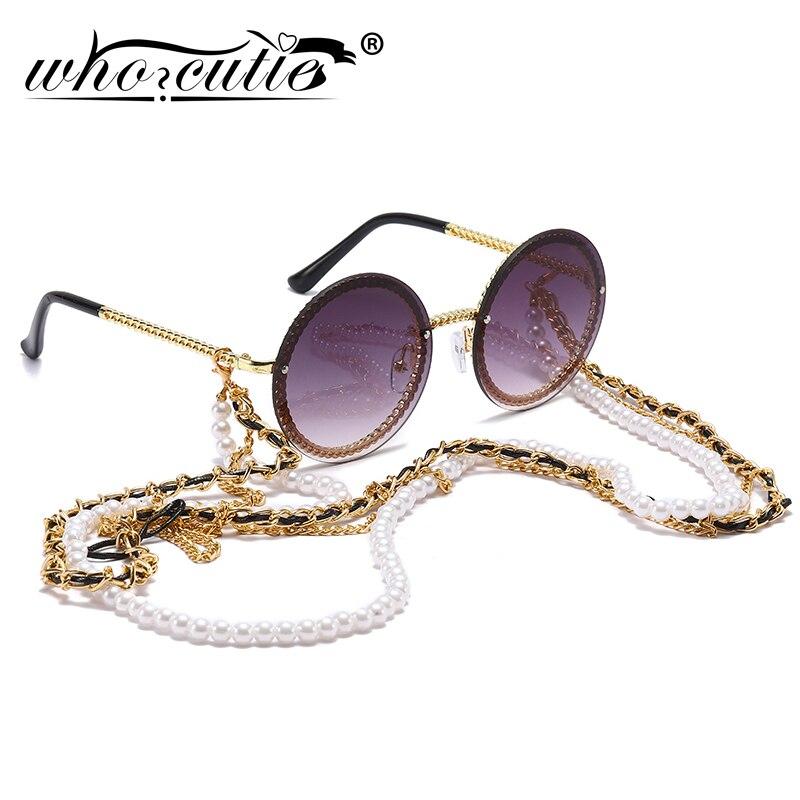 Vintage Runde Sonnenbrille Frauen mit Perle Kette Zubehör 2019 Luxus Marke Design Retro Gold Rahmen Sonnenbrille Weibliche Shades
