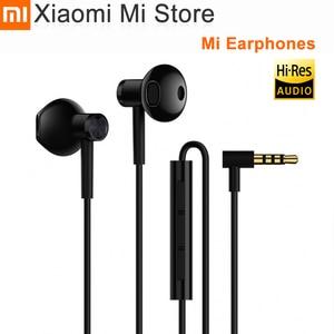 Image 1 - Xiaomi Mi Earphones Dual Units Half 3.5MM Wire Control In Ear Earphones for Mi A1 Redmi 5 Plus Smartphone for samsung s10