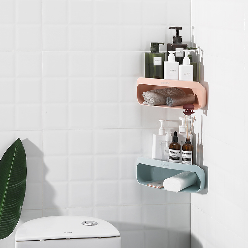 Купить с кэшбэком Corner Bathroom Shelf Wall Mount Corner Snap Up Shelf Organizer Triangle Storage Rack Bathroom Shower Kitchen Wall Hanger Rack