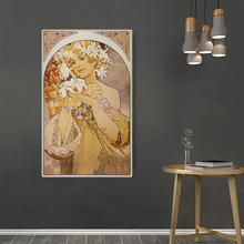 Citon Alphonse Mucha《Art Deco Woman》Canvas Art Oil painting Artwork Poster Picture Wall Decor Modern Home Living room Decoration woman seated in an armchair by picasso canvas painting print living room home decor modern wall art oil painting poster artwork