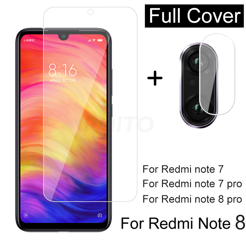 2 In 1 Camera Lens Glass For Redmi Note 8 7 Pro Tempered Glass Screen Protector For Redmi Note 7 8 Pro Glass Film