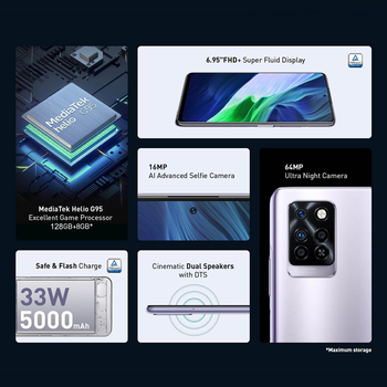 Global Version Infinix Note 10 Pro NFC Support 6.95'' Display Smartphone Helio G95 64MP Camera 33W Super Charge 5000 Battery 2