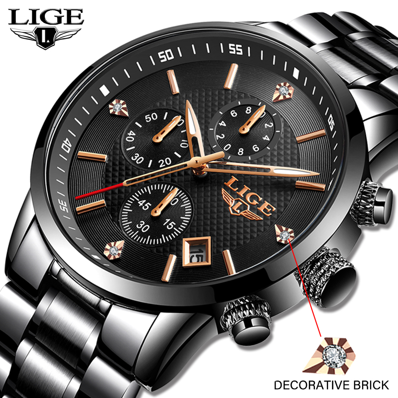 LIGE 2020 Watch Men Fashion Sports Quartz Clock Mens Watches Brand Luxury Full Steel Business Waterproof Watch Relogio Masculino