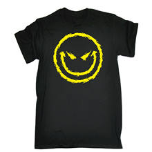 Evil Smiling T-SHIRT Cartoon Humour Geek Joke Devil Top Tee Gift birthday funny(China)