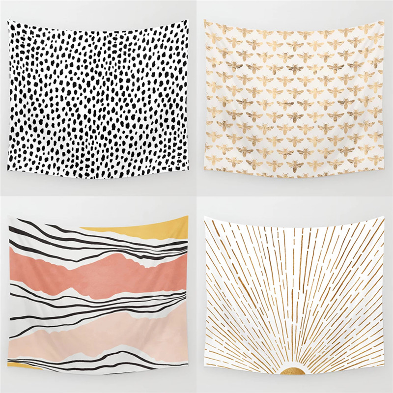 Dropshipping Stripe Speckle Tapestry Wall Hanging Hippie Polyester Home Decor Blanket Fabric Bedroom 180×230CM With 6M LED Light