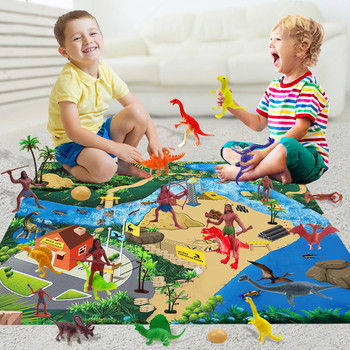 Indoor Crawling Play Mat Dinosaur City Road Parking mat Game pad Floor Activity Interactive Toys Educational toys for children
