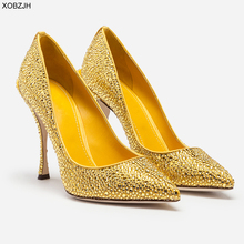 Italian Wedding Yellow Shoes Women Pumps 2019 Luxury Brand Designer High Heels Ladies Rhinestone Party Shoes Woman plus Size 43 недорого
