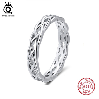 ORSA JEWELS  925 Sterling Silver Rings Women Unique Twisted Shape Round Ring Wedding Band Fashion Jewelry Anniversary Gift SR62 manbu custom infinity knot ring with moonstone 925 sterling silver ring for women fashion jewelry anniversary gift free shipping