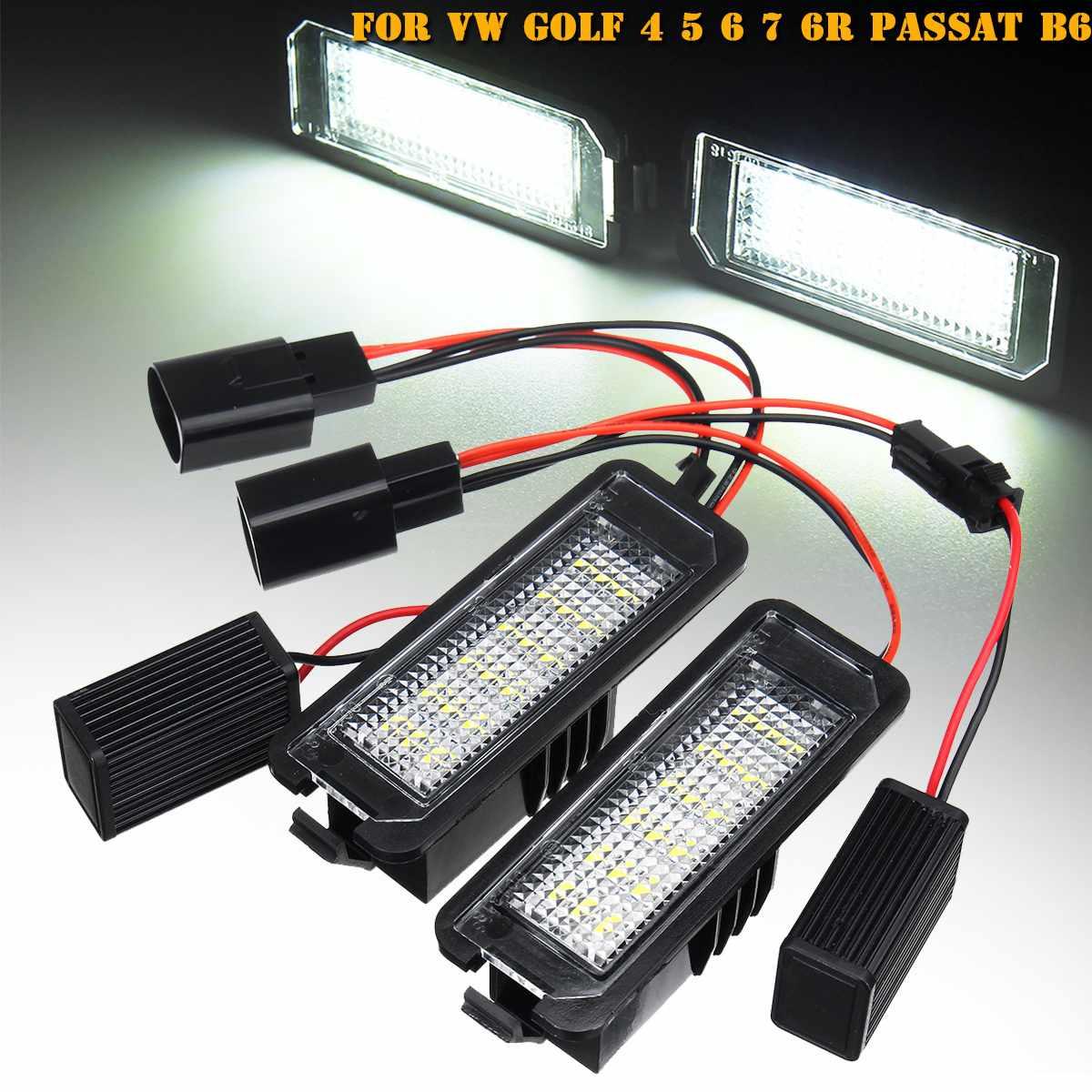 2 uds. Lámpara de luz 18 LED para placa de matrícula sin Error para VW GOLF 4 5 6 7 Polo 6R Scirocco Polo Lupo, Passat EOS Ibiza Leon2 3