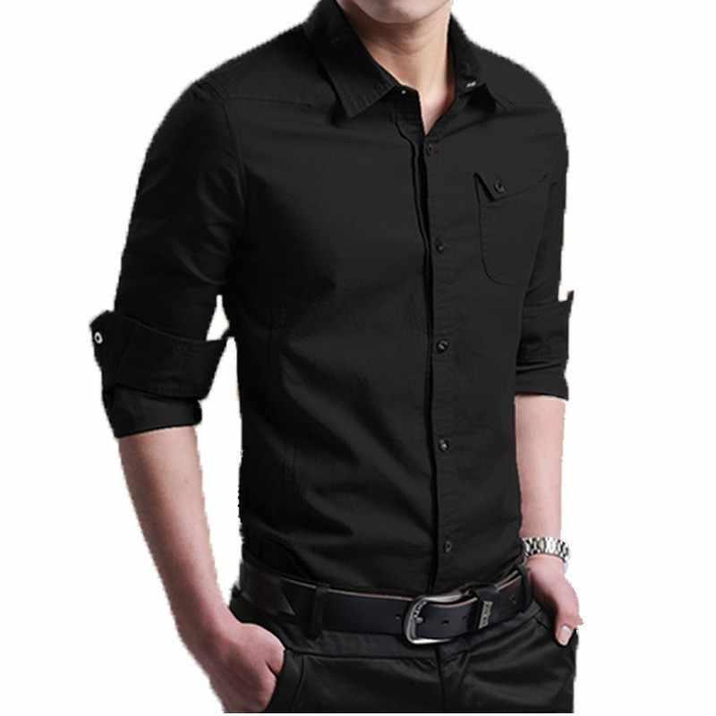 Klasyczny biznes mężczyźni casual wiosenna koszula z długim rękawem Slim Fit wojskowy Plus rozmiar 5XL Khaki topy praca w biurze koszule bluzka Homme