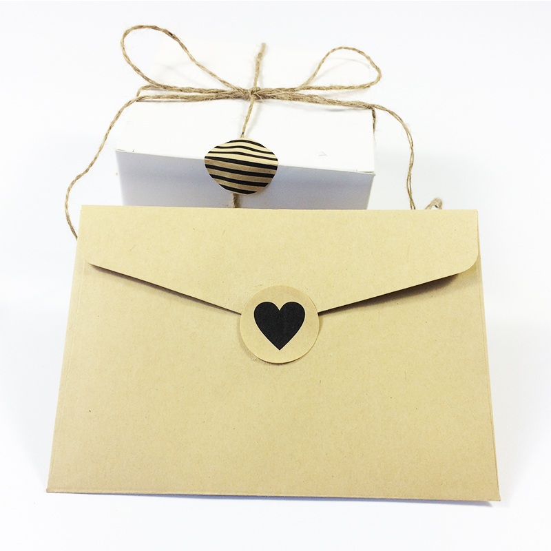 90Pcs/lot Simple and clear Black Heart Dots Twill Round Kraft Paper Seal Sticker handicraft workshop Gift Stickers Scrapbooking