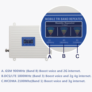 Image 2 - 2g 3g 4g repeater 900 1800 2100 Triple Band repeater gsm 900 dcs 1800 wcdma 2100 Cell Phone Signal Booster cellular amplifier